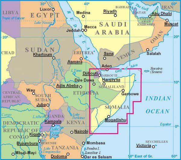 Szomália elhelyezkedése a térképen