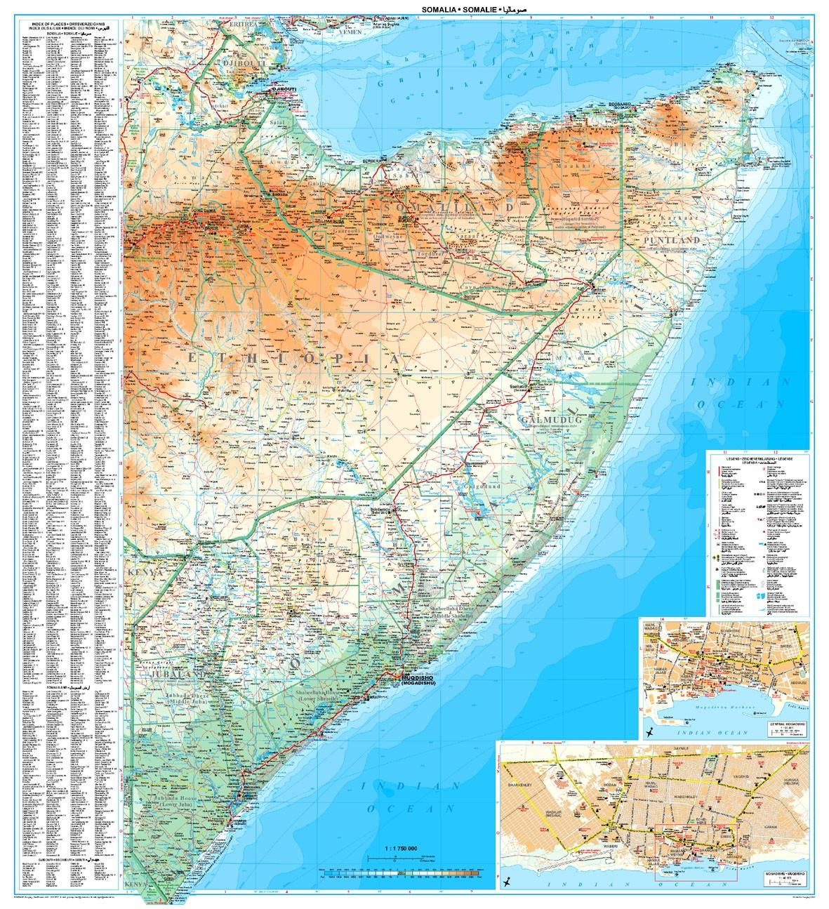 A Szomália térkép által lefedett terület
