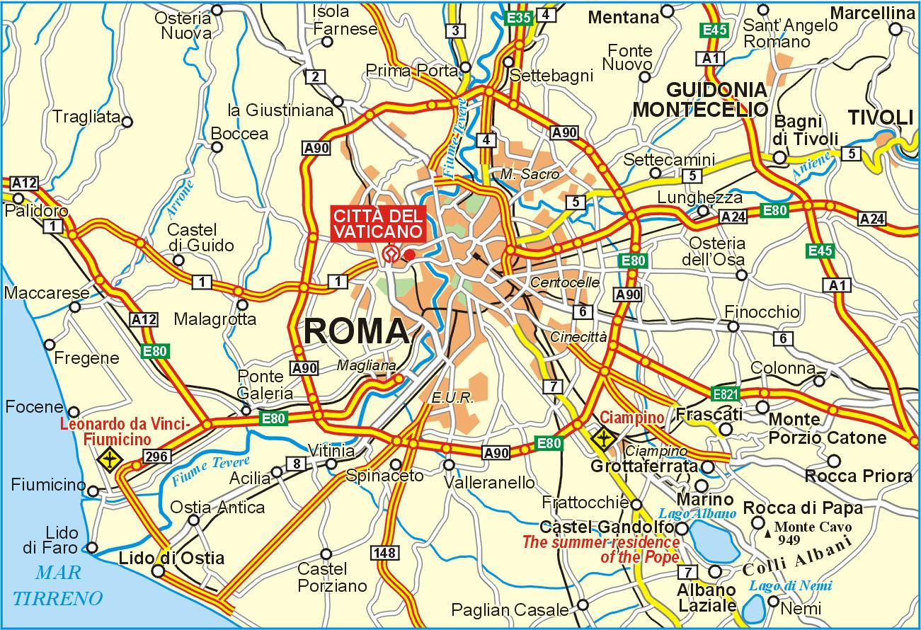 Vatican környékének térképe