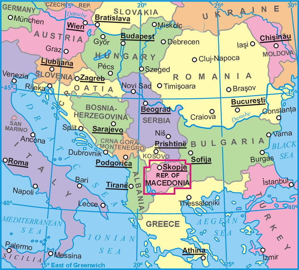 Macedónia elhelyezkedése a térképen