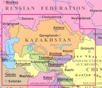 Kazahsztán helye a térképen