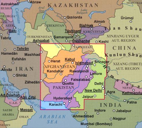 Pakisztán elhelyezkedése a világtérképen