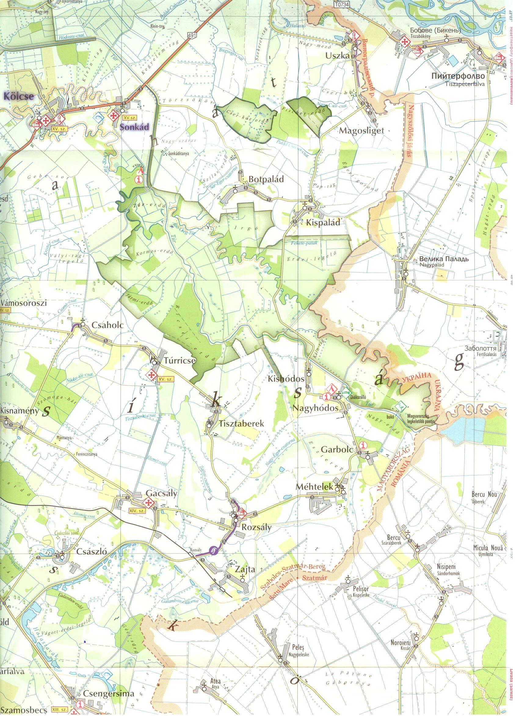 Szatmár-Bereg natúrpark térkép minta