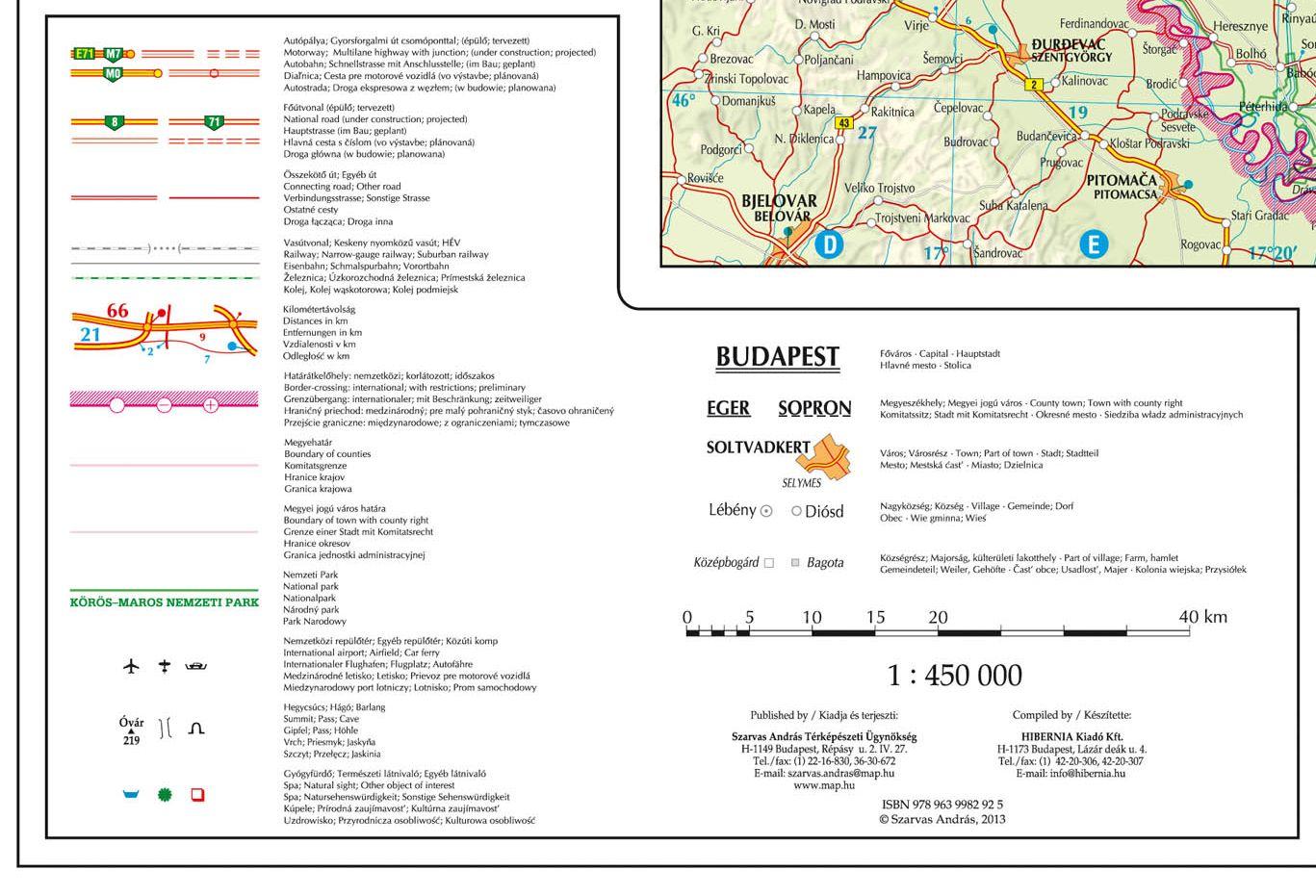 Magyarország autótérképe, jelmagyarázat