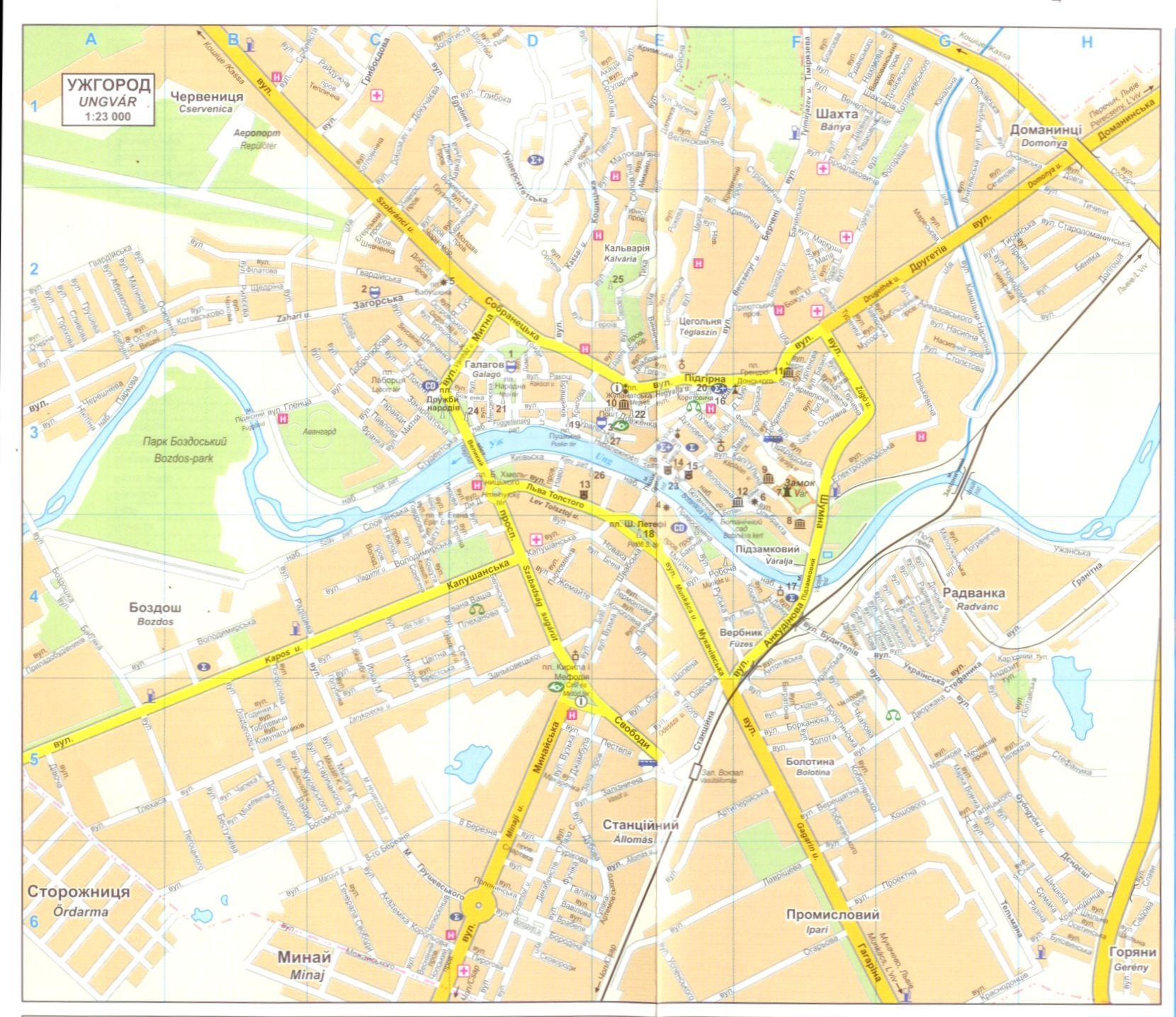 Kárpátalja: Ungvár várostérkép