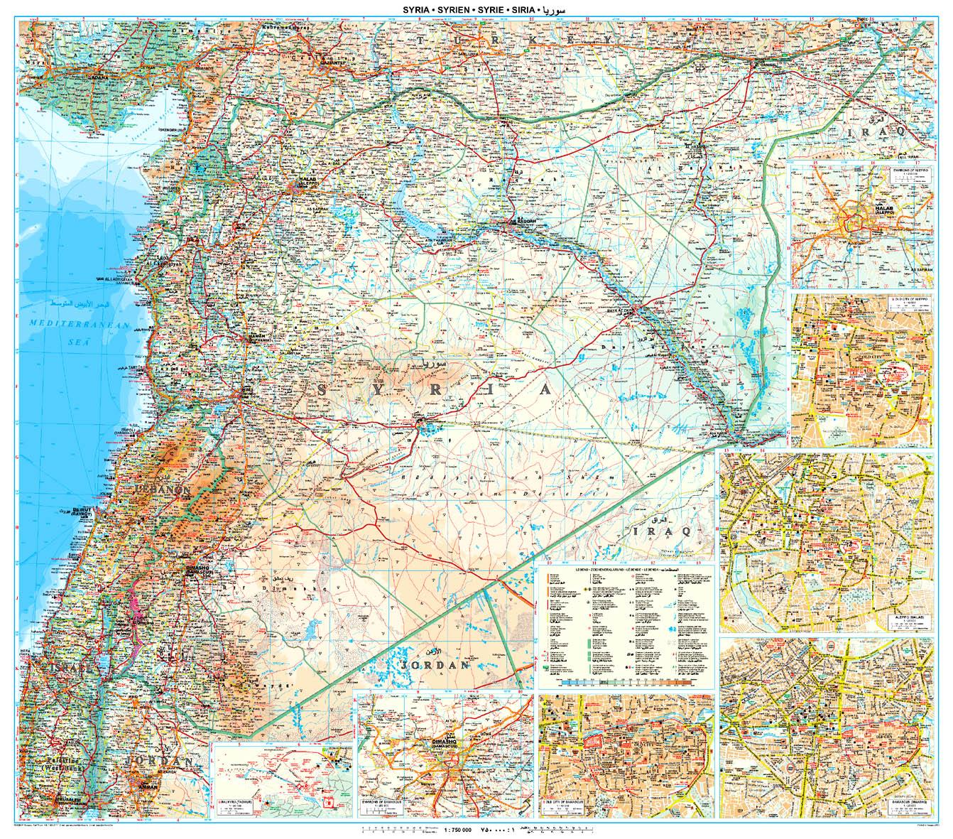 A Szíria-Libanon térkép általa lefedett terület