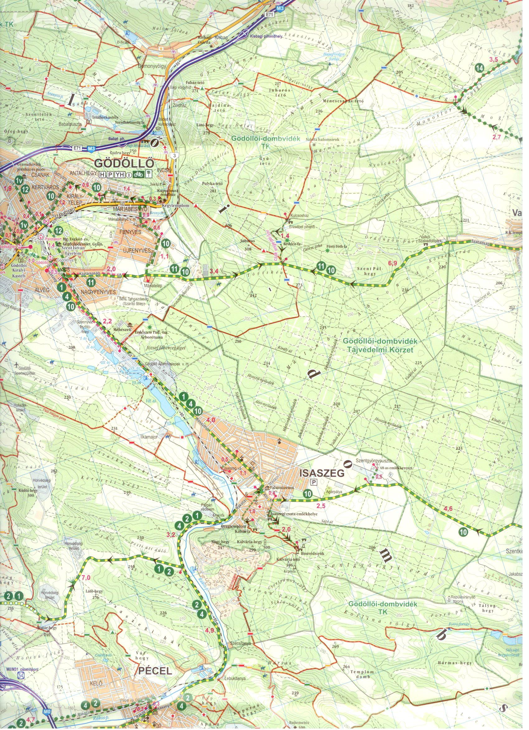 Gödöllői-dombság biciklis térkép minta 1:60.000