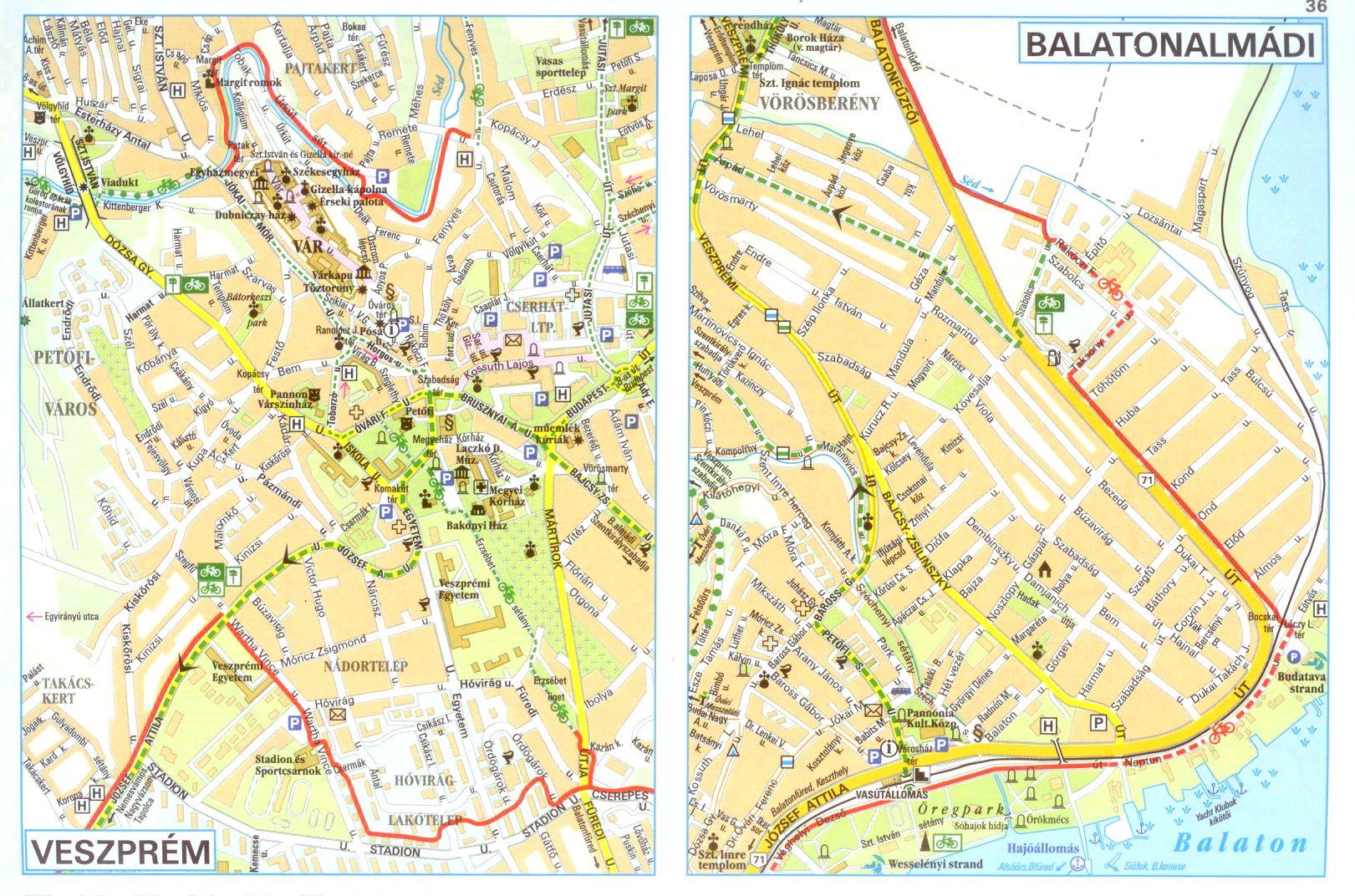 Balaton biciklis atlasz várostérkép minta