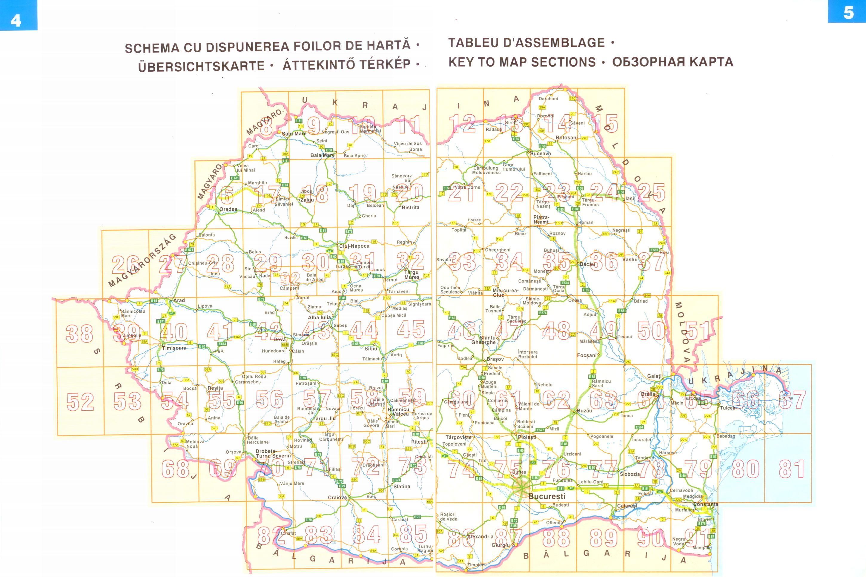 Románia autóatlasz áttekintő térkép