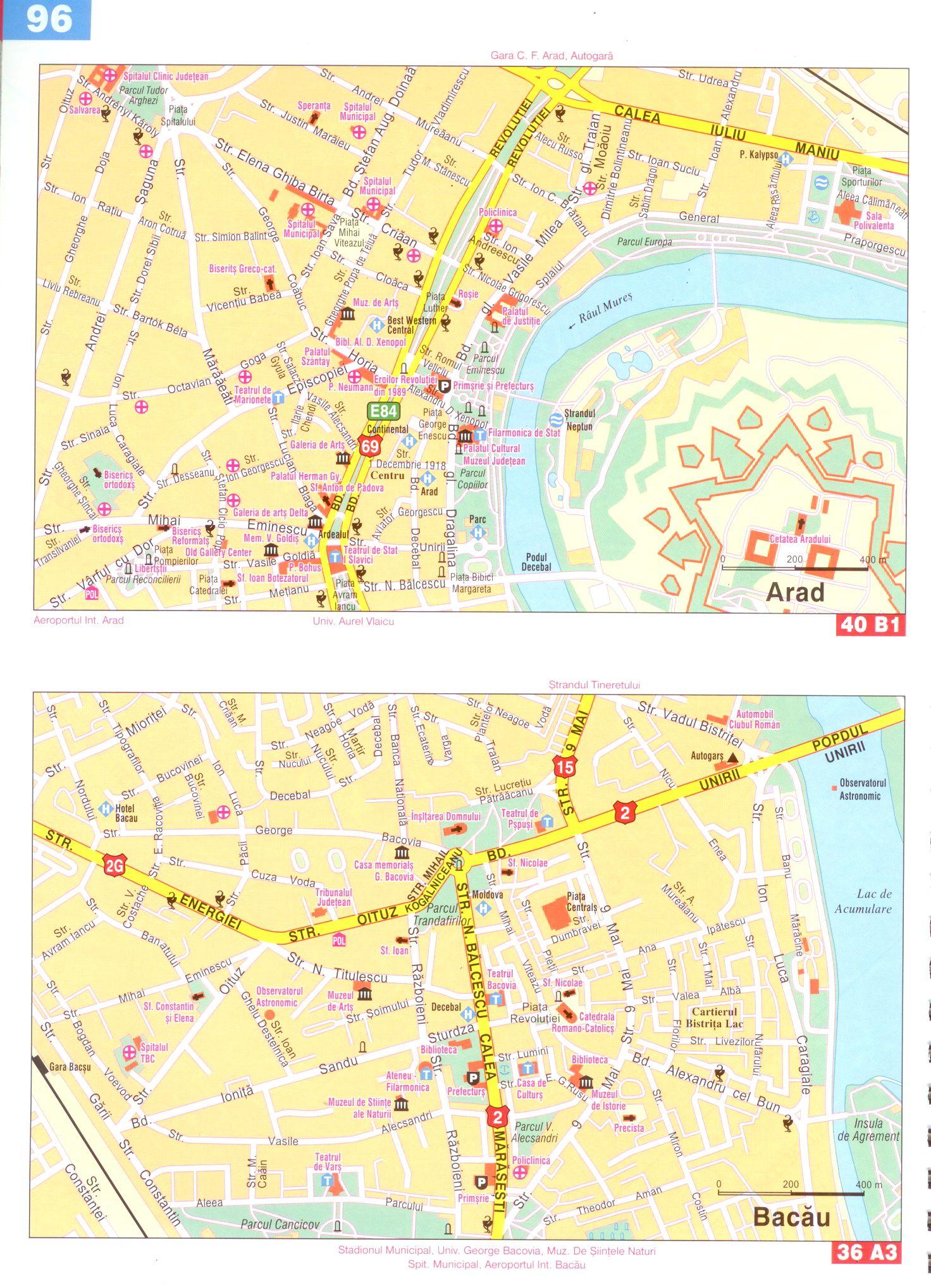 Románia autóatlasz várostérkép minták