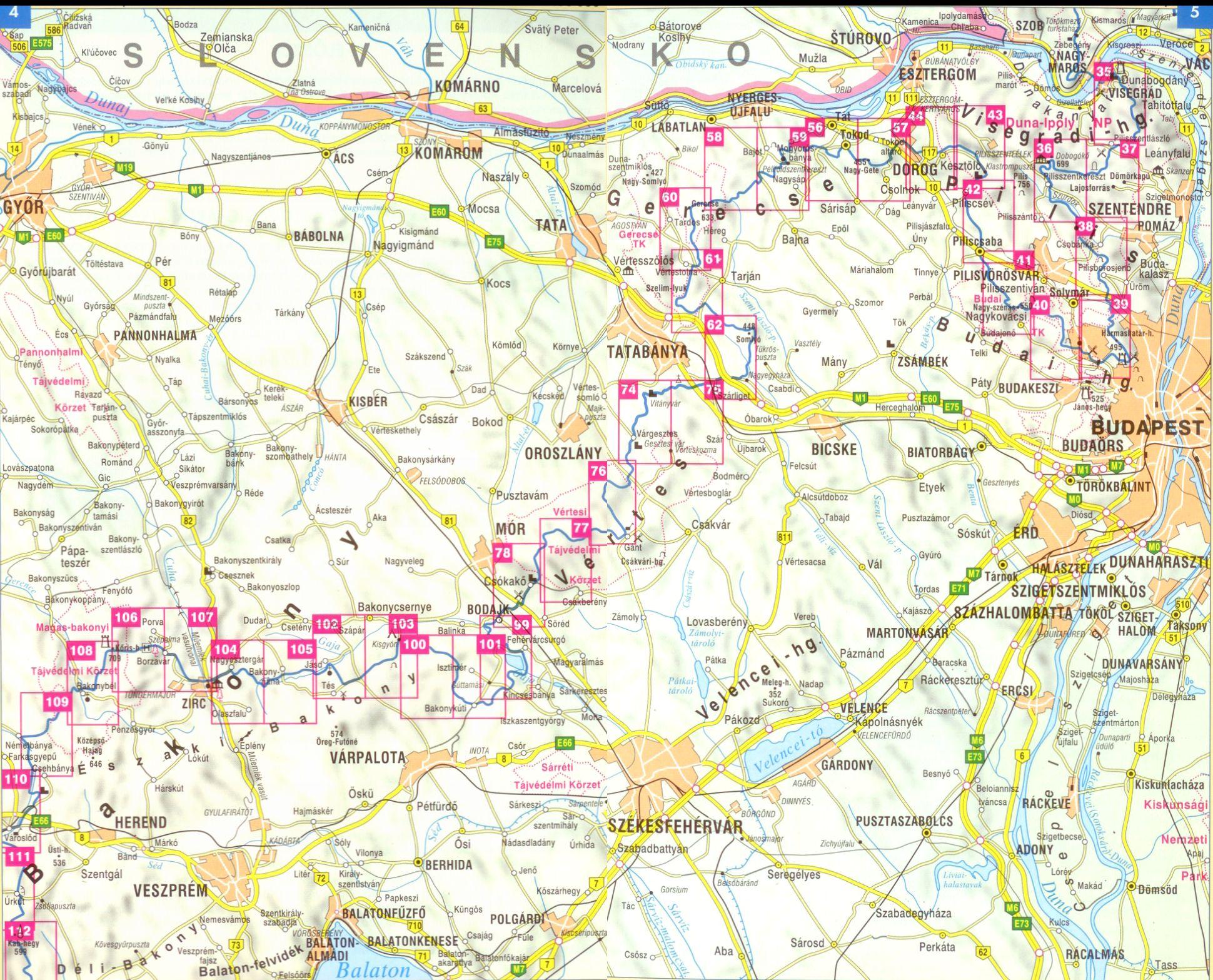 Országos Kéktúra (Dunántúl): áttekintőtérkép 1