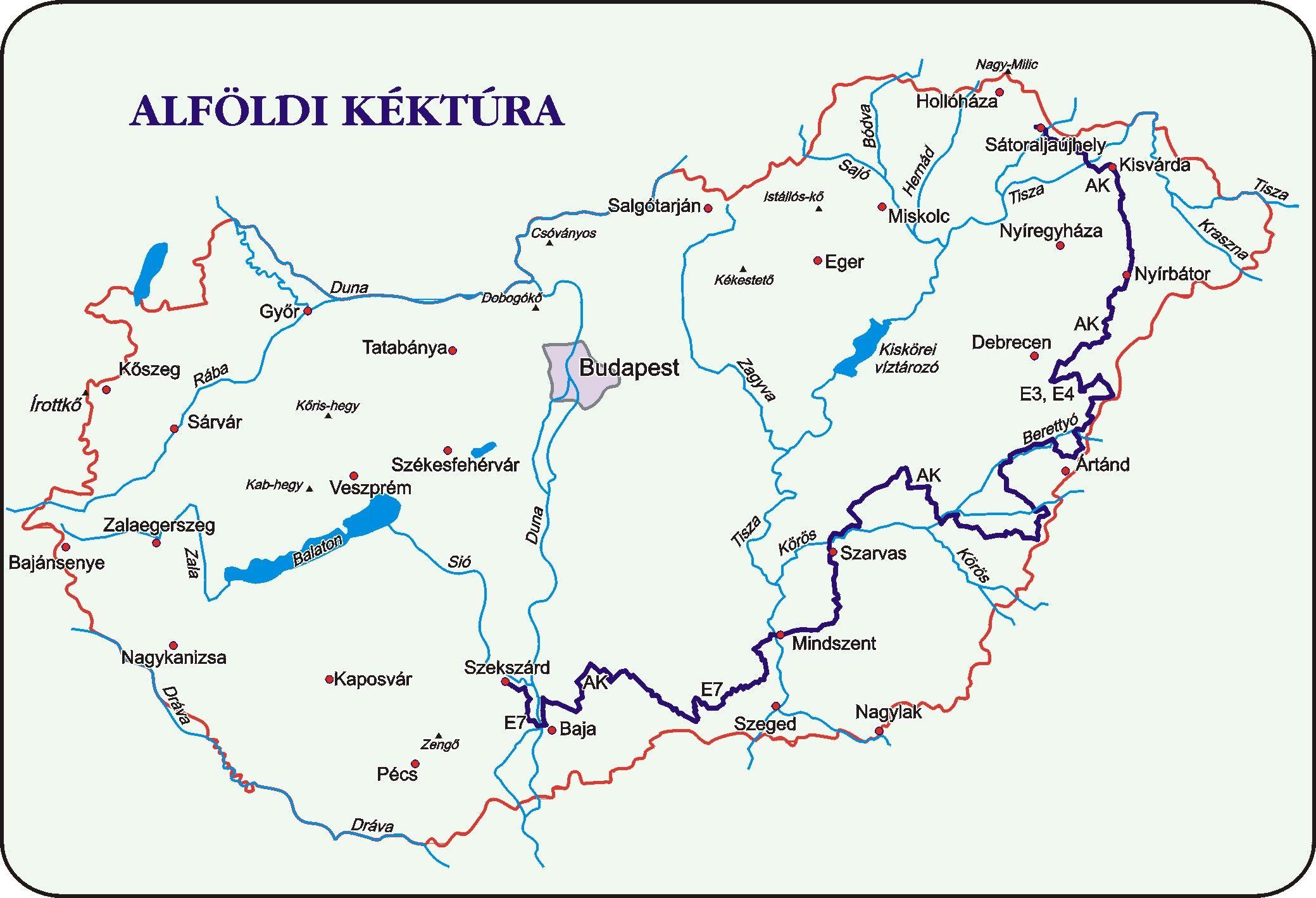 Alföldi Kéktúra áttekintő térkép
