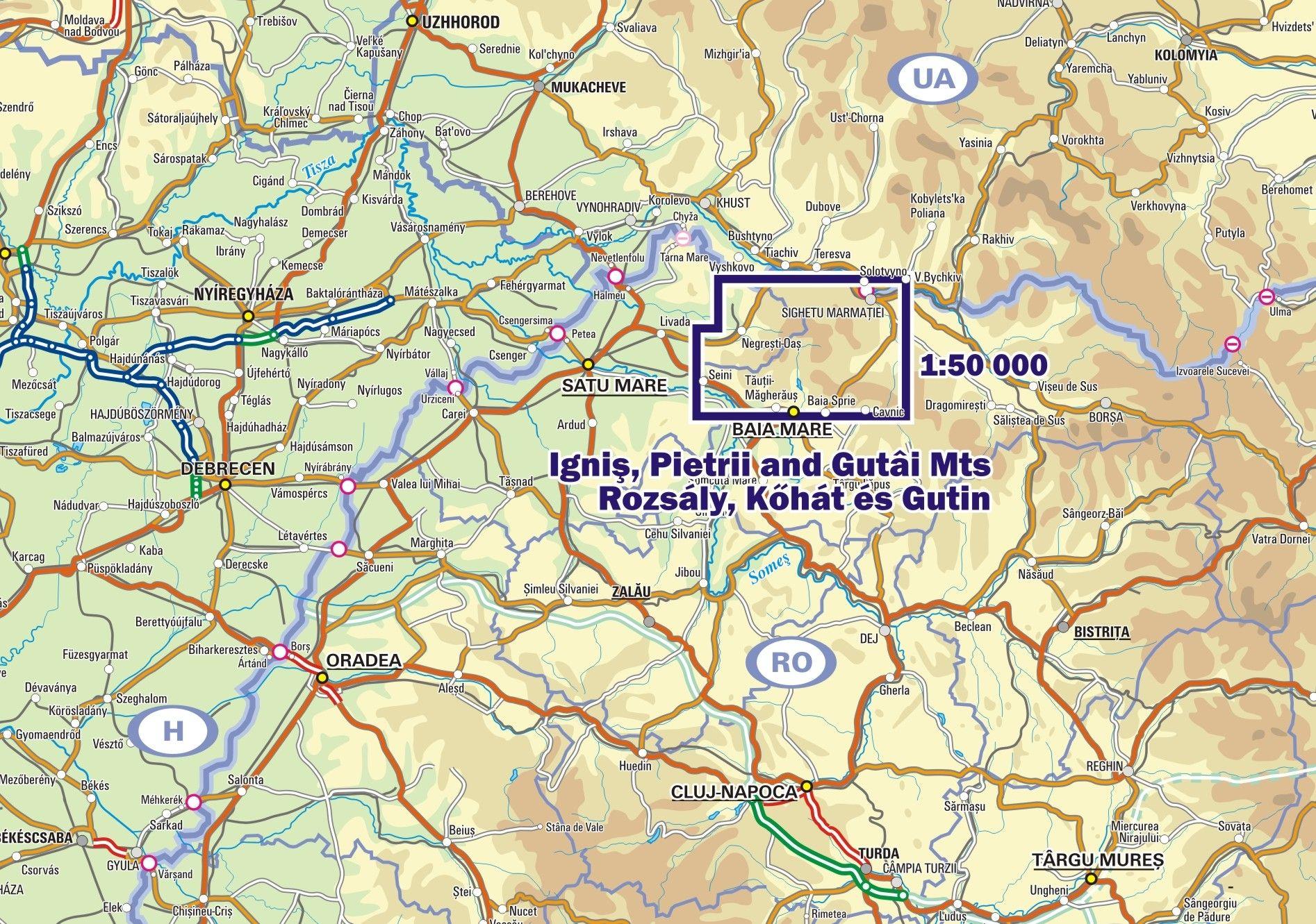 Rozsály, Kőhát és Gutin térkép környéke