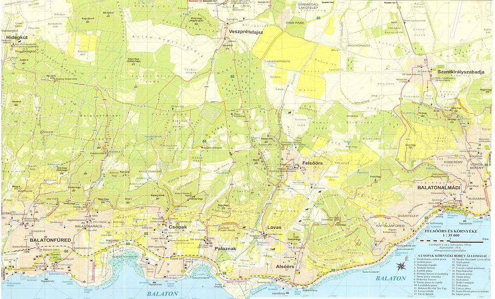 A Balatoni riviéra térkép által lefedett terület