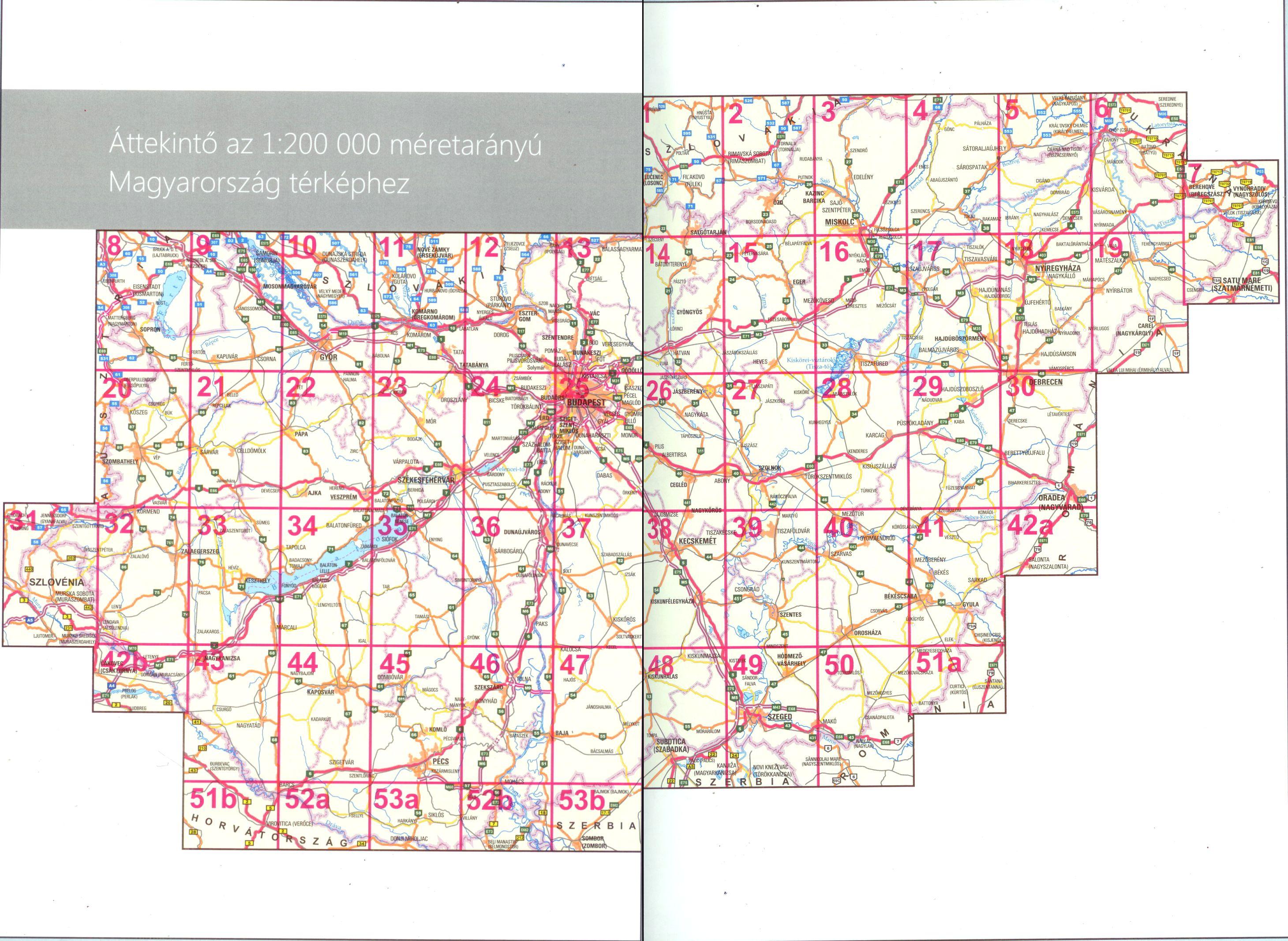 Magyarország úti atlasza 1:200.000-es autótérkép áttekintő lapja