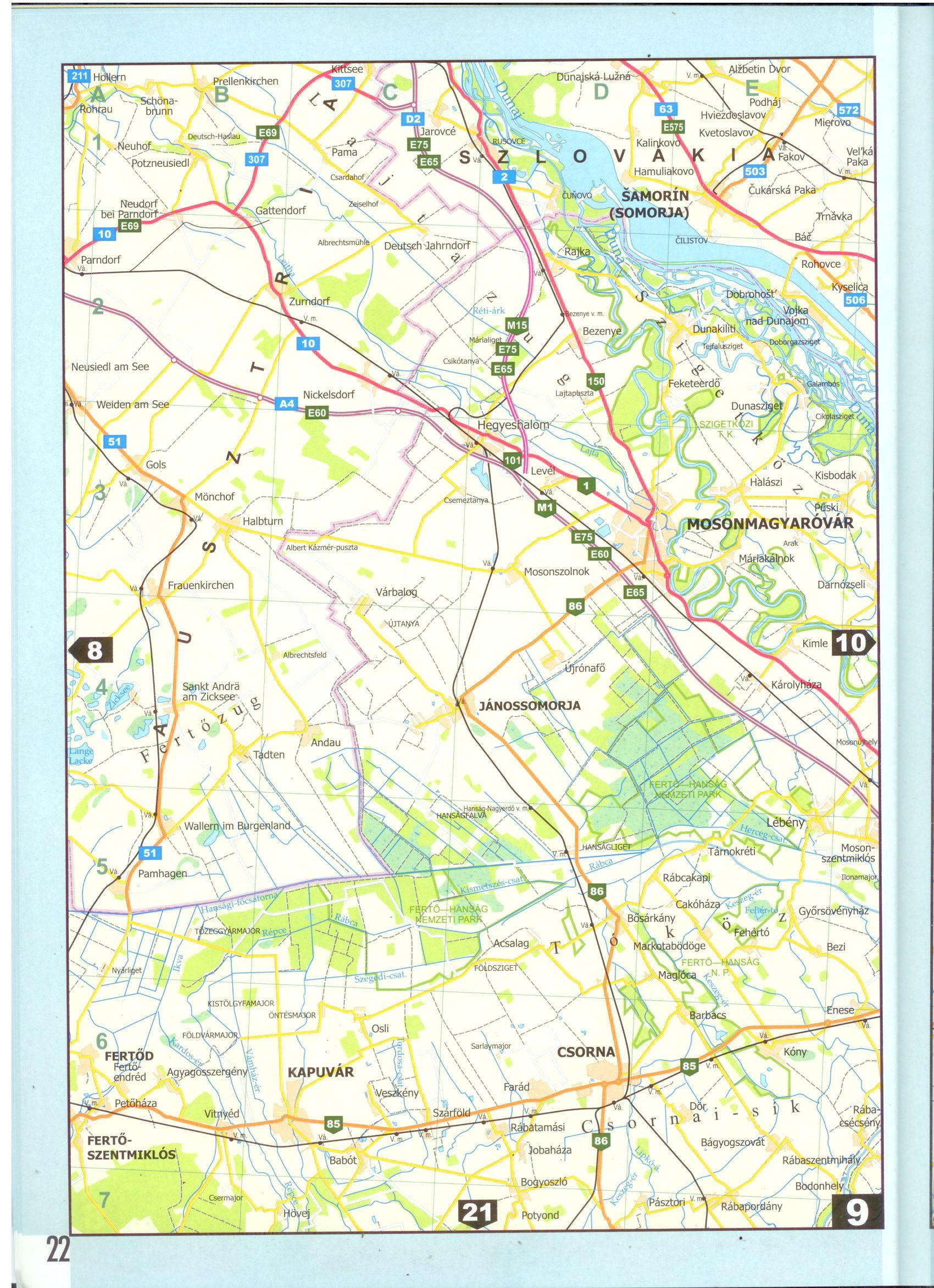 Magyarország úti atlasza 1:200.000 autótérkép minta
