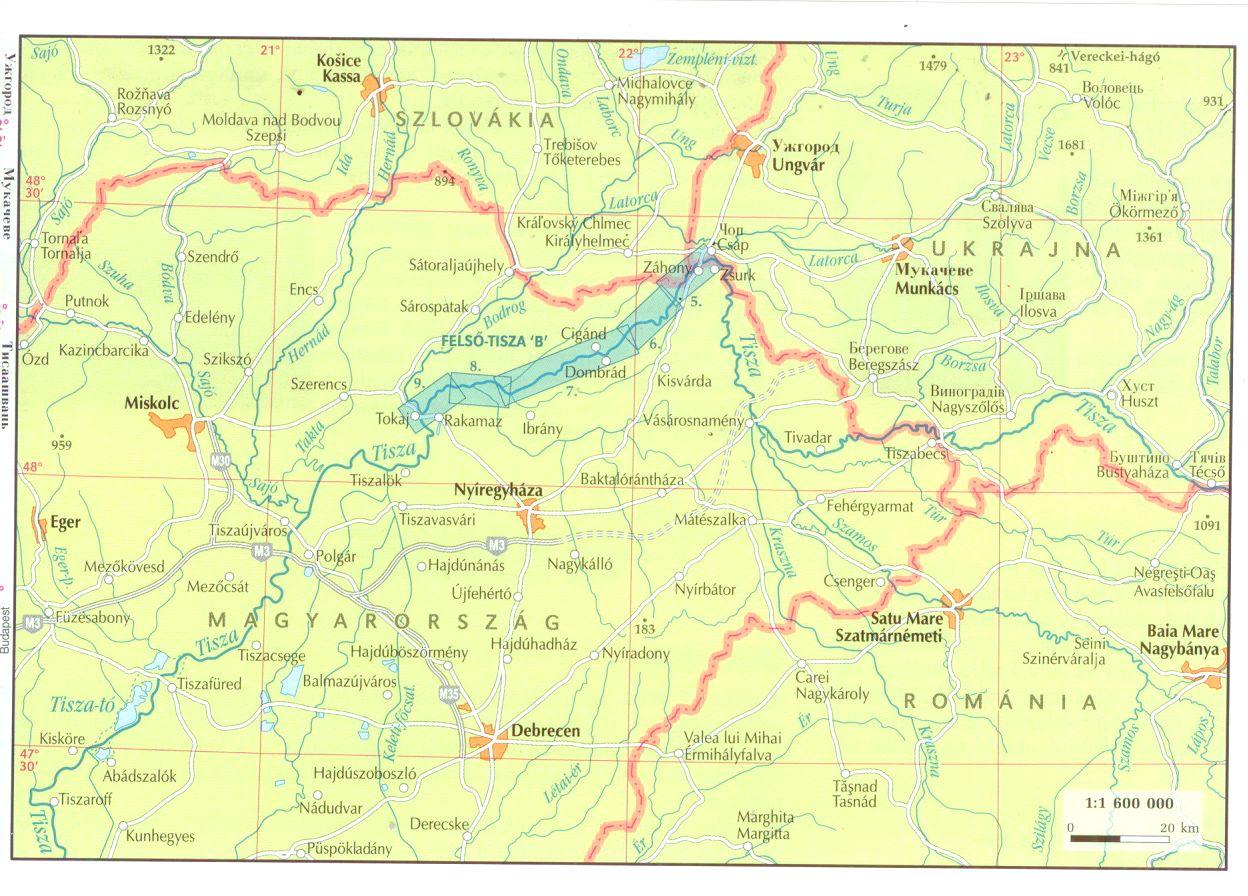 Tisza 633-542 1:60.000 átekintő térkép