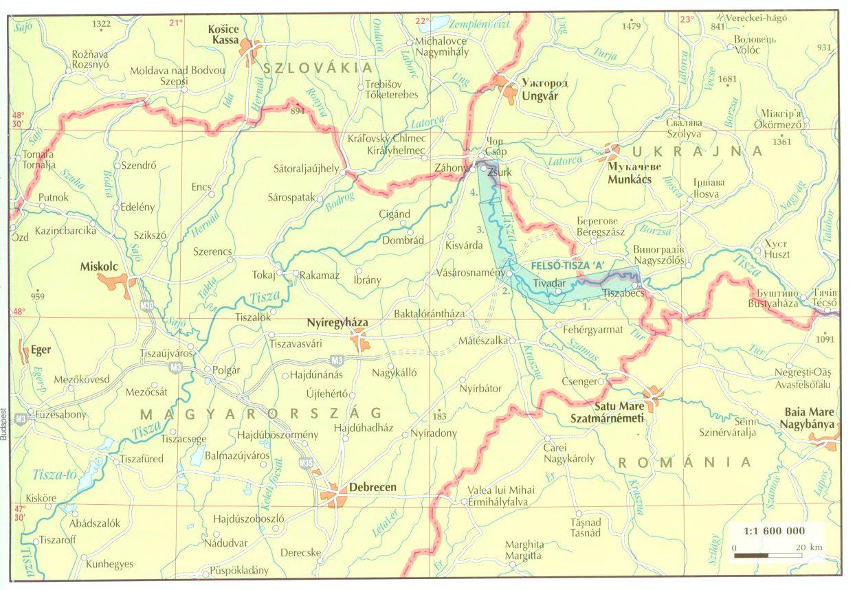 Tisza 744-633 fkm 1:60.000 áttekintő térkép