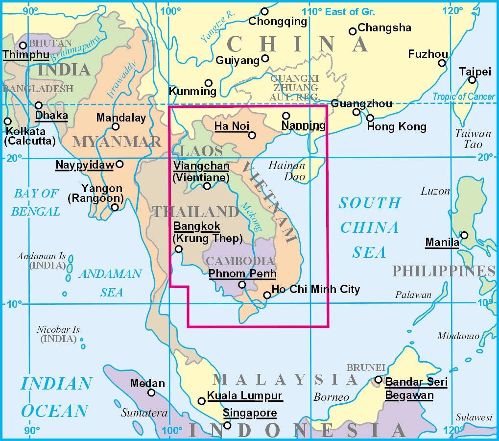 Vietnam, Laosz, Kambodzsa a világtérképen
