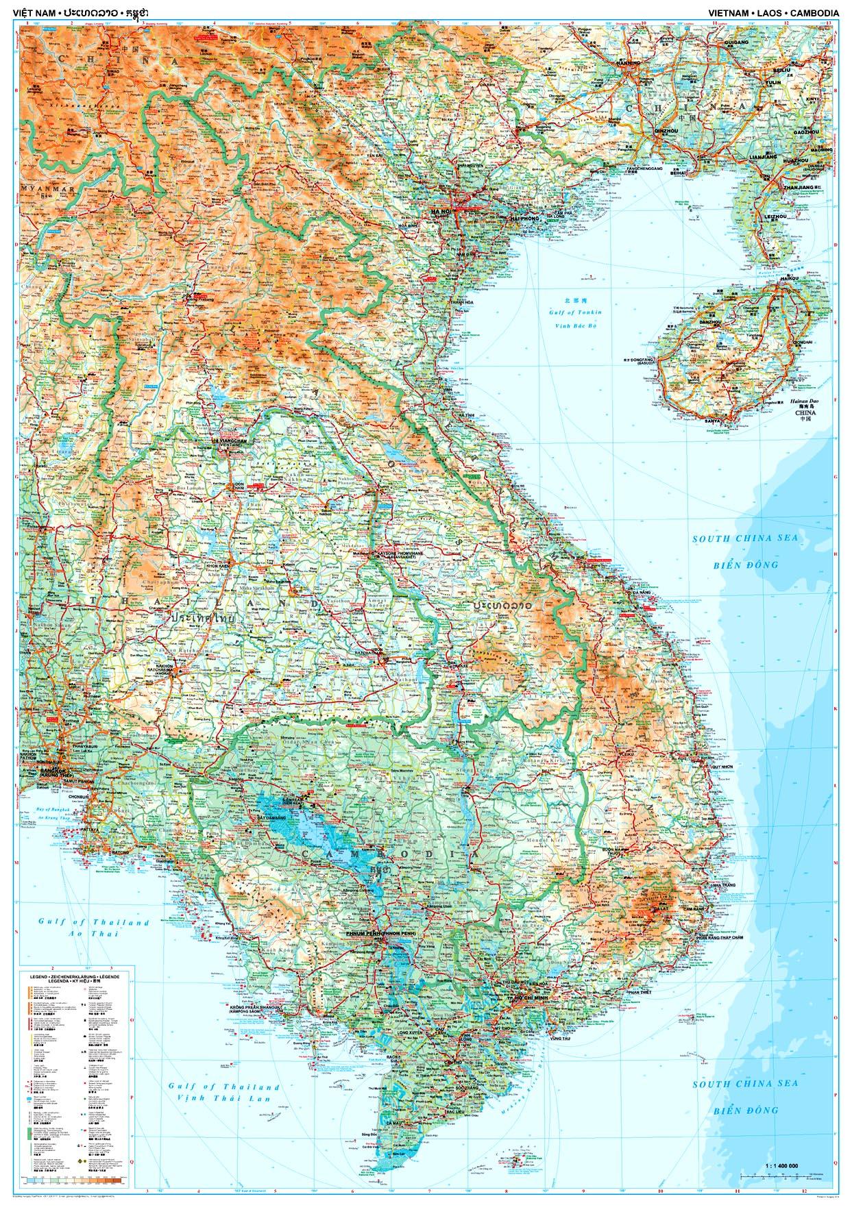 A Vietnam, Laosz, Kambodzsa térkép által lefedett terület