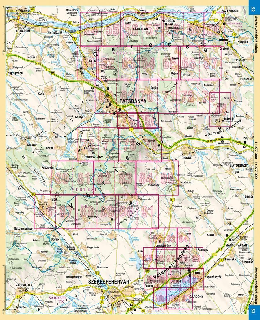 Gerecse, Vértes, Velencei-hegység atlasz oldalbeosztása