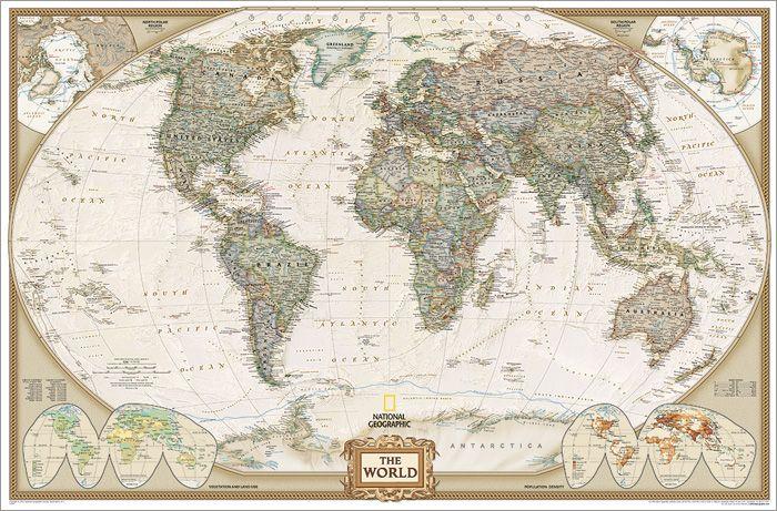 Politikai világtérkép antikolt kivitelben