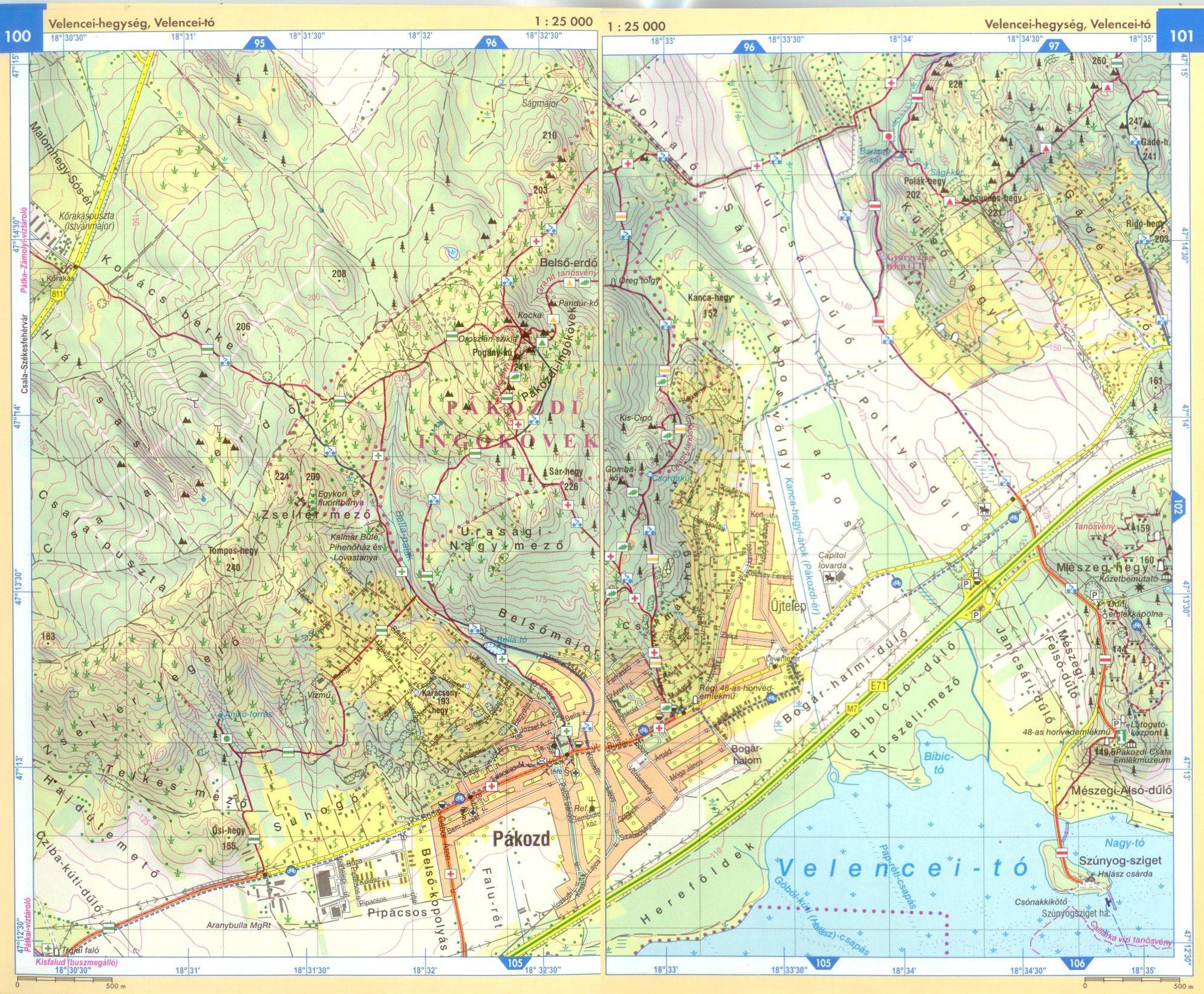 Velencei-hegység térképminta 1:25.000