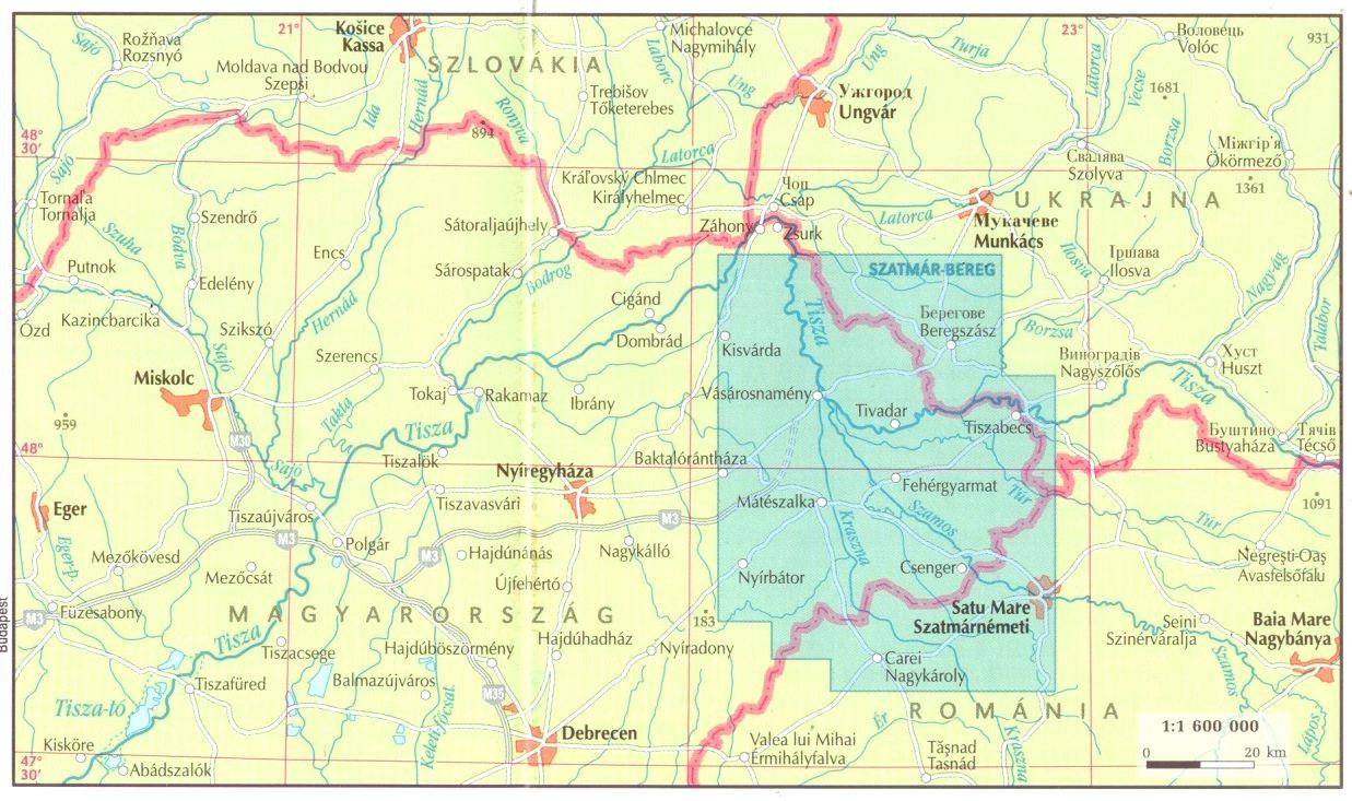 A Szatmár-Bereg térkép által lefedett terület