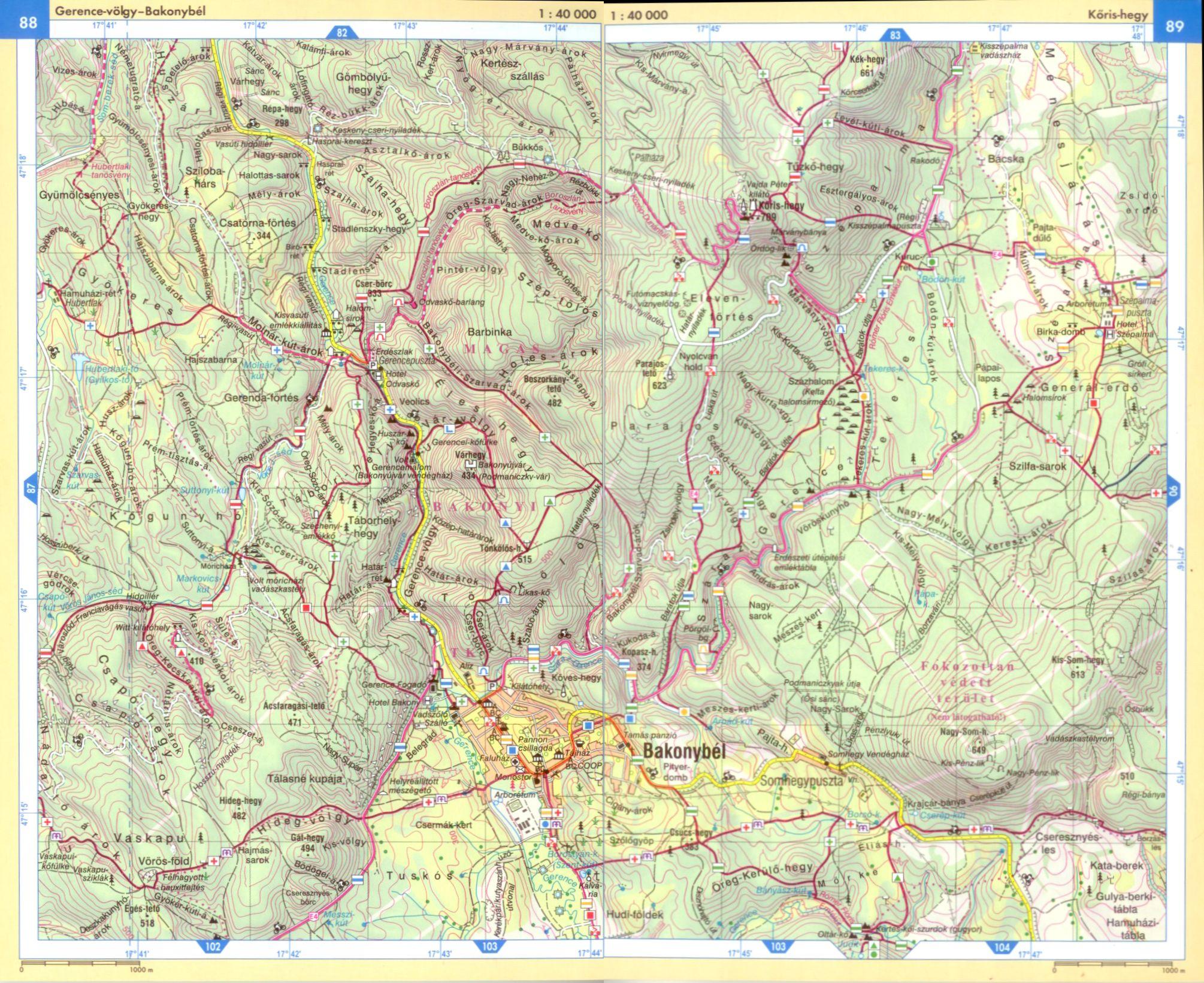 Bakony atlasz 1:40.000 térképminta