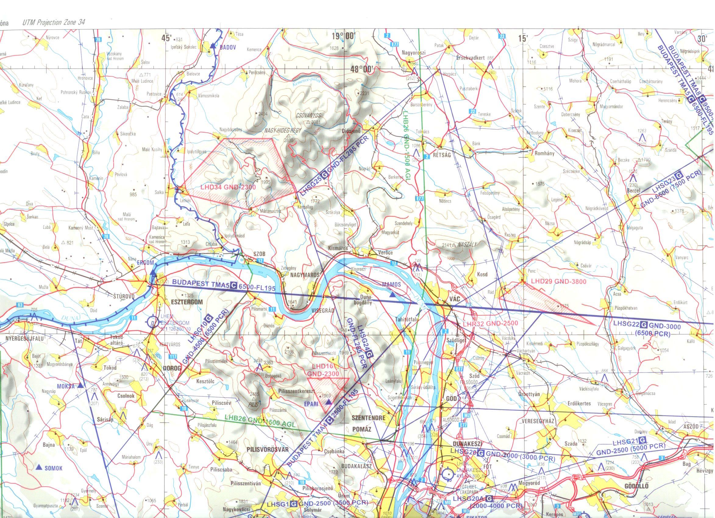 Magyarország léginavigációs térkép (minta 1:250.000)