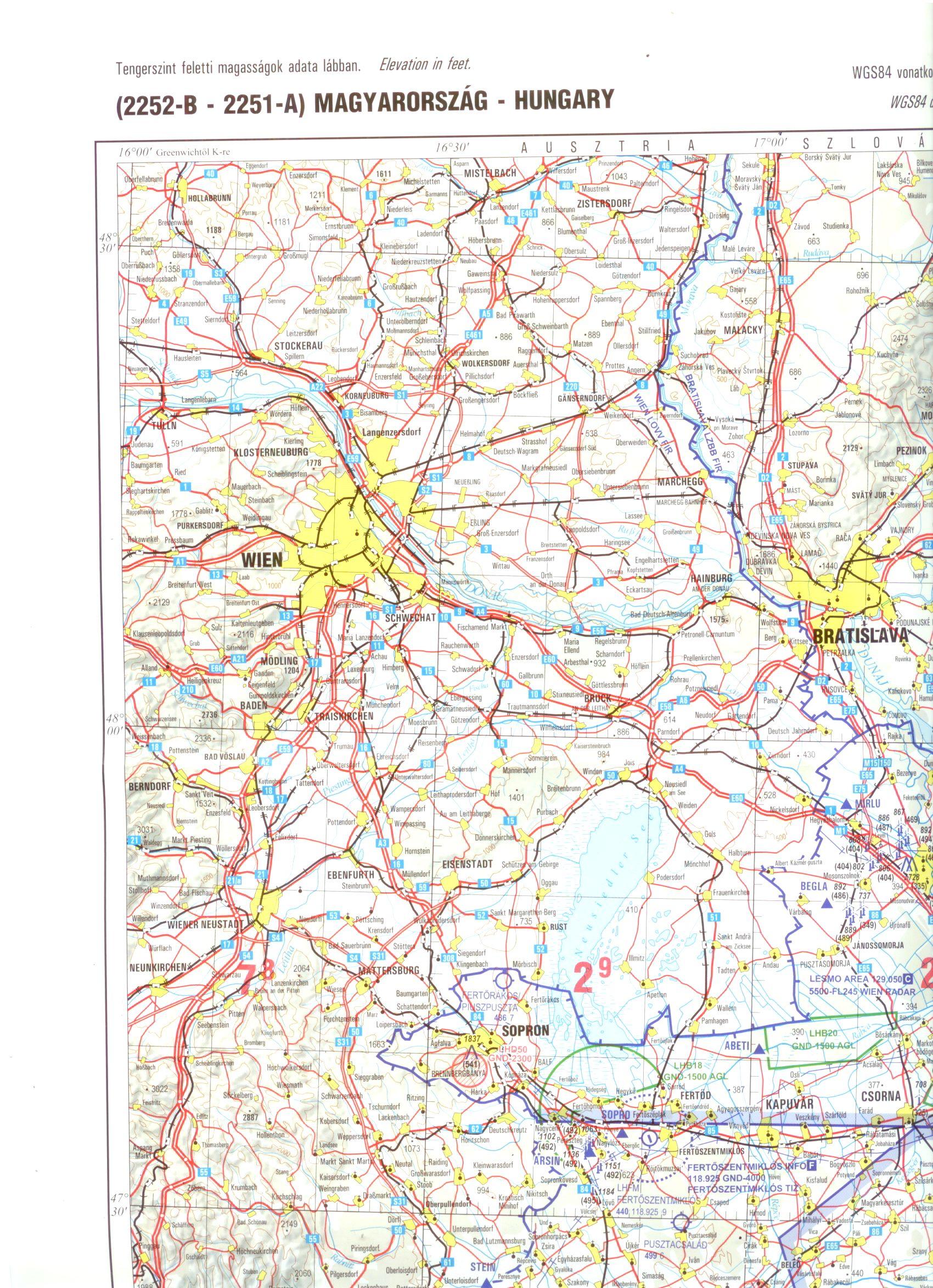 Hivatalos légiforgalmi térkép elsősorban a magasan repülők részére.