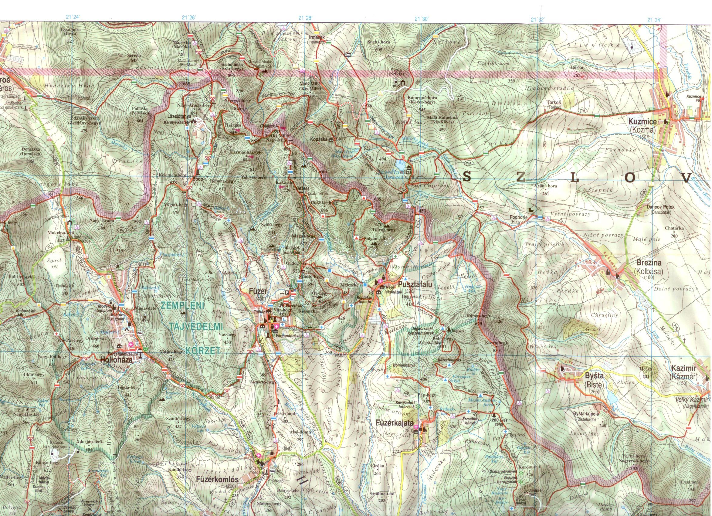 Zempléni-hegység 1:50.000 minta kivágat