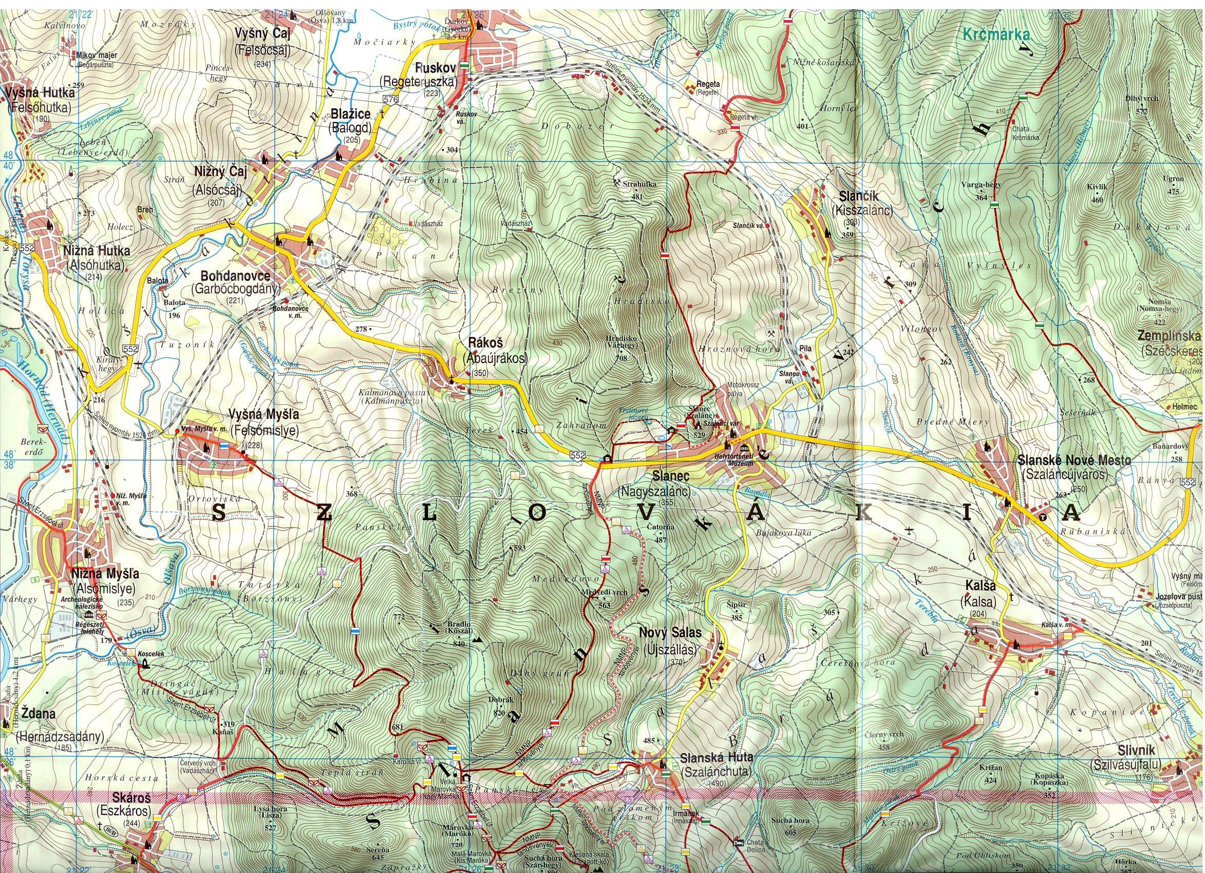 Zempléni-hegység 1:50.000 minta kivágat (szlovák rész)