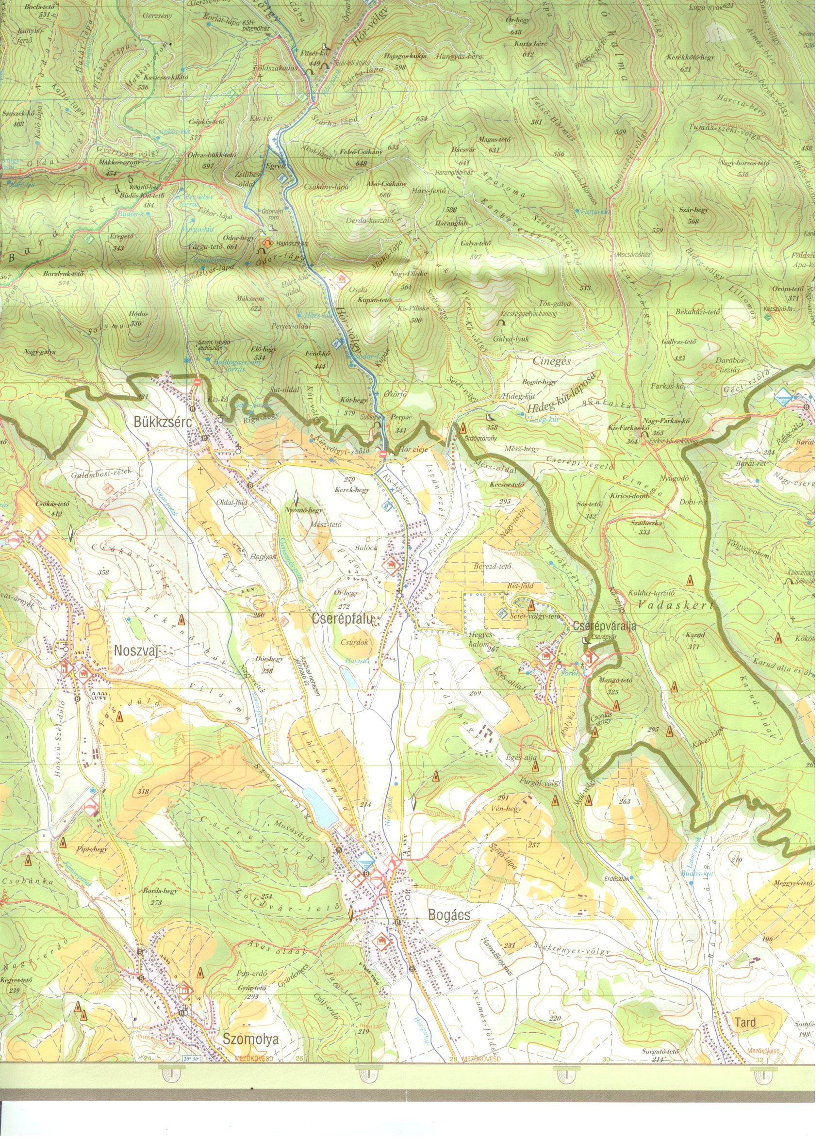A Bükki NP térkép mintakivágata
