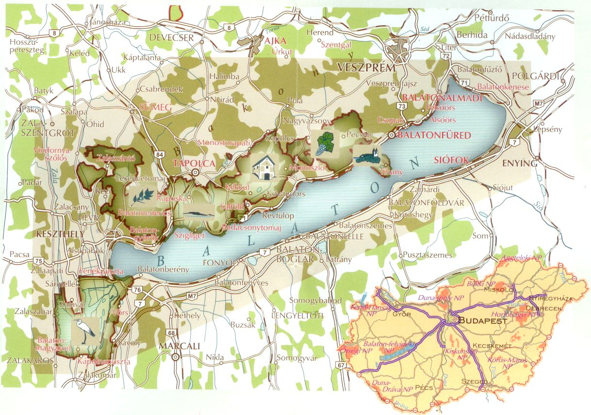A Balaton-felvidék NP térkép által lefedett terület