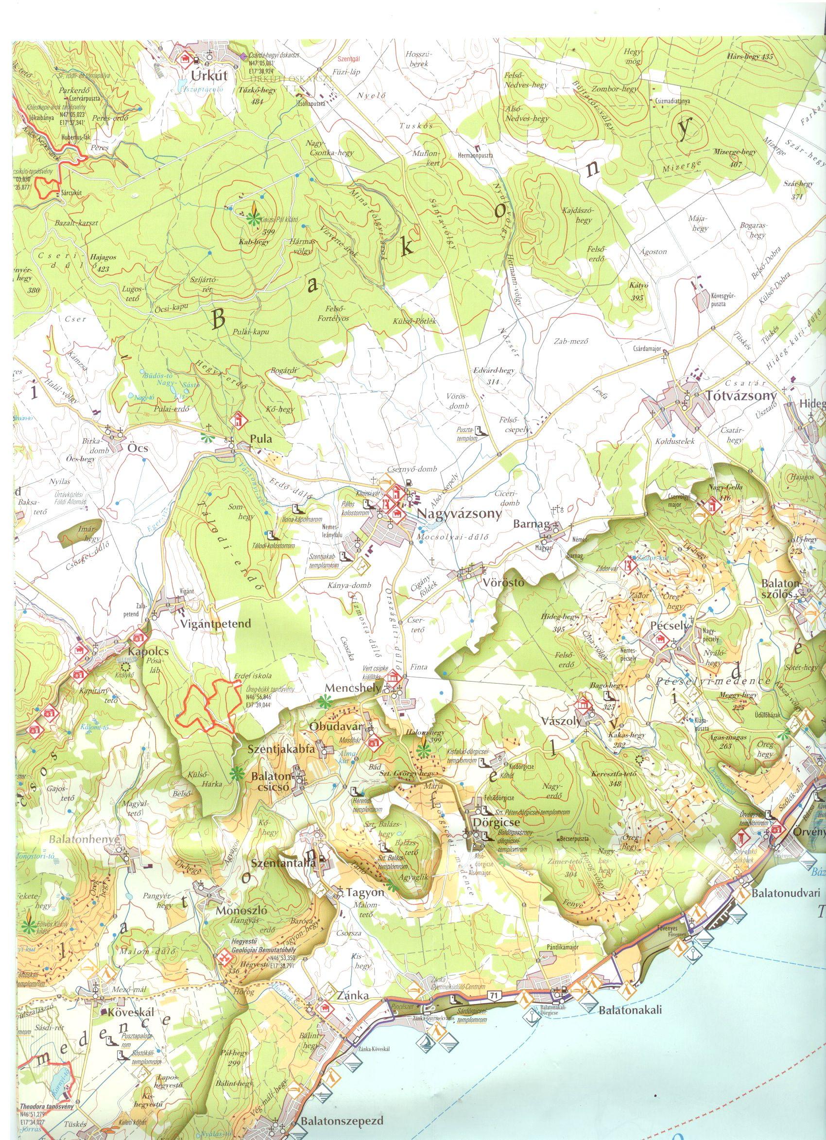 A Balaton-felvidék NP térkép mintakivágata