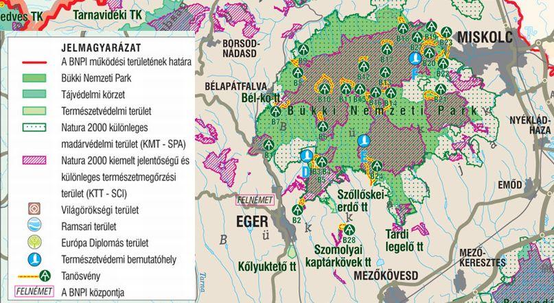 A Bükki NP térkép által lefedett terület