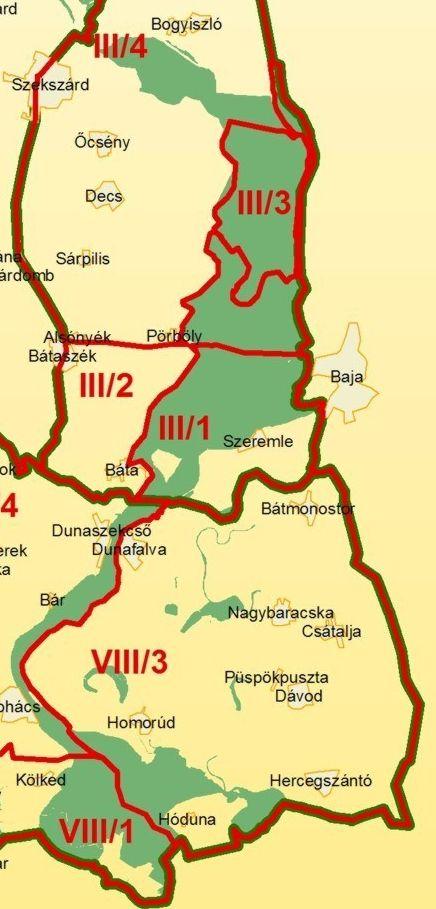 Duna-Dráva NP térkép előoldala által lefedett terület