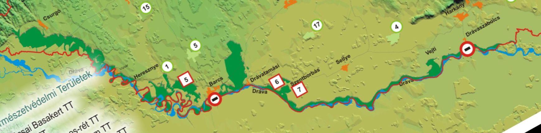 Duna-Dráva NP térkép hátoldali térkép: a Dráva magyar szakasza