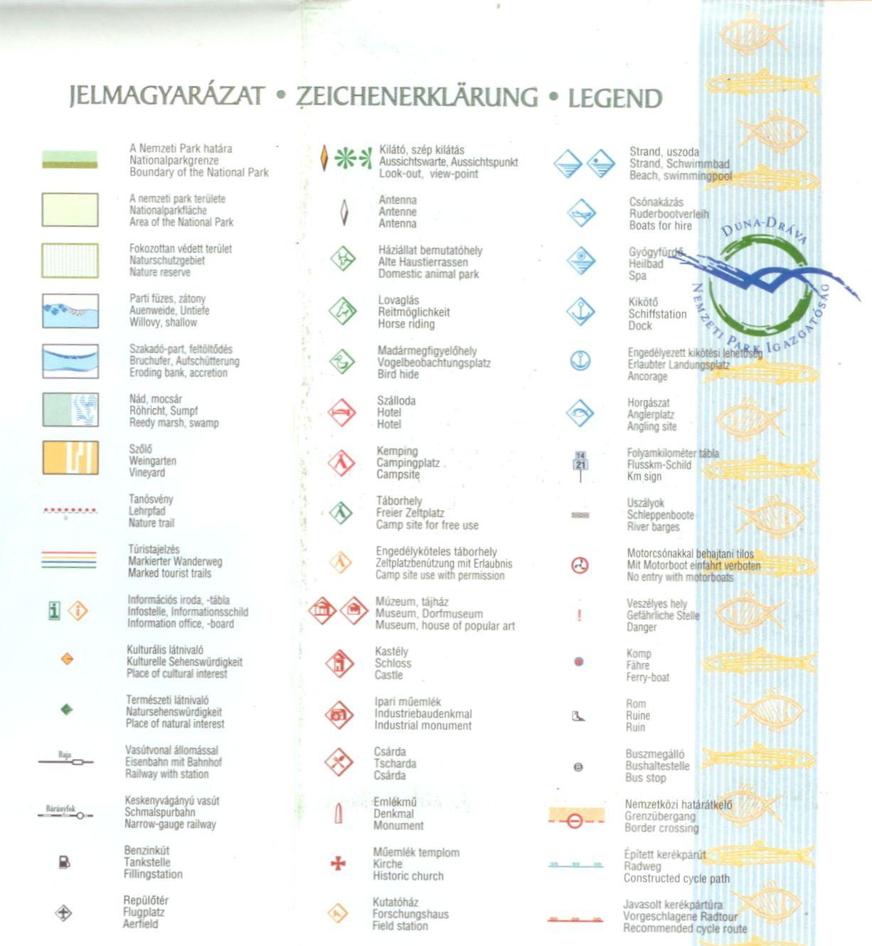 Duna-Dráva NP térkép jelmagyarázata