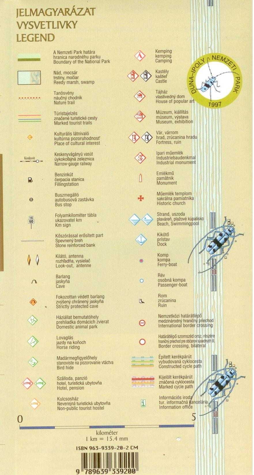 Duna-Ipoly NP térkép jelmagyarázata
