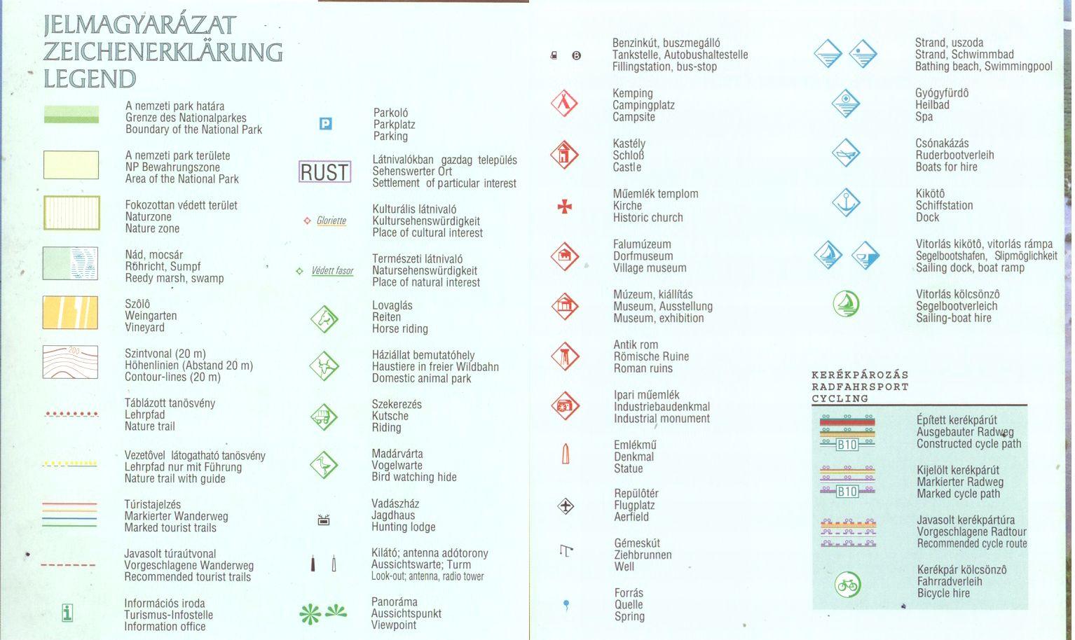 Fertő-Hanság NP térkép jelmagyarázat