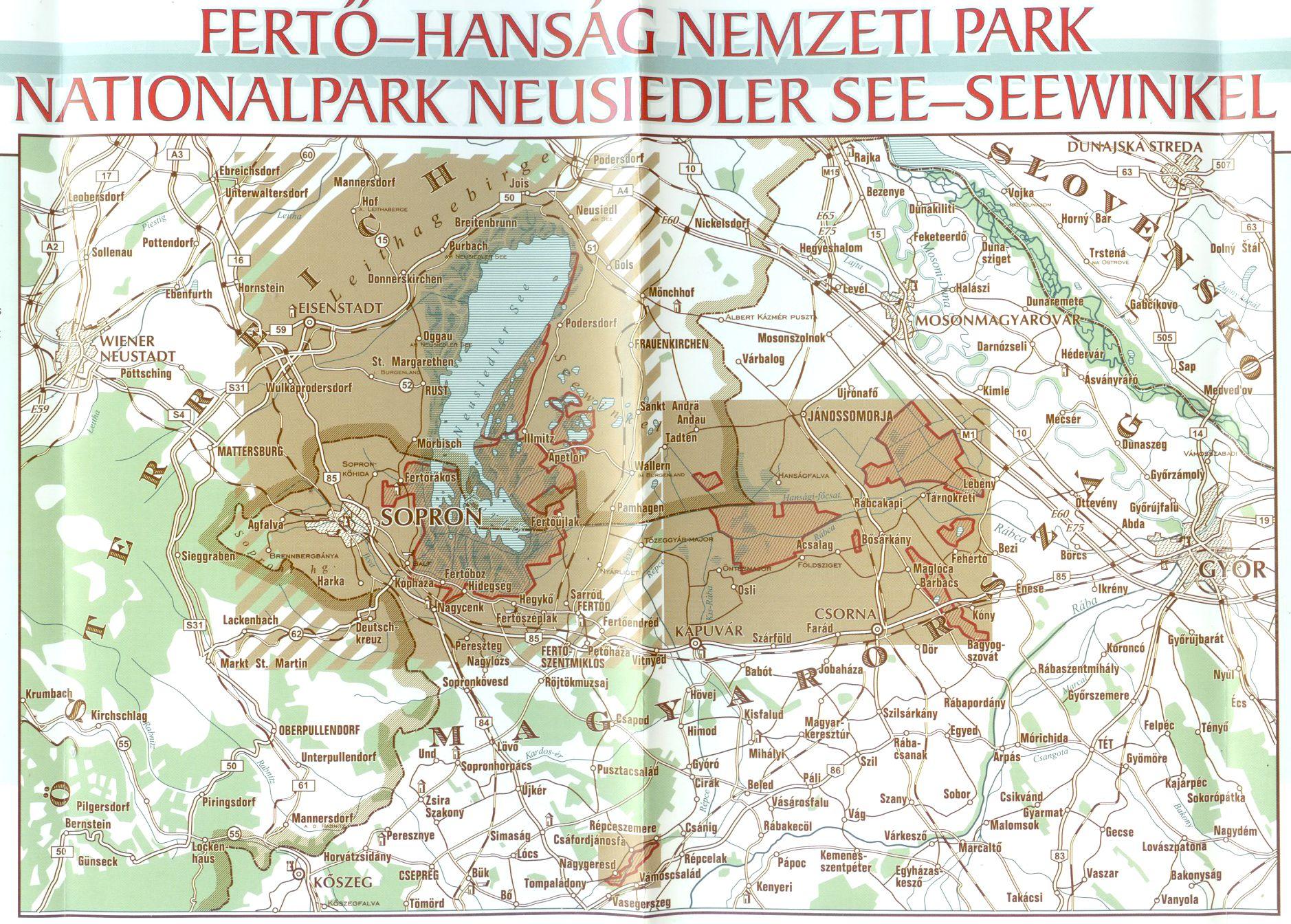 A Fertő-Hanság NP térkép által lefedett terület