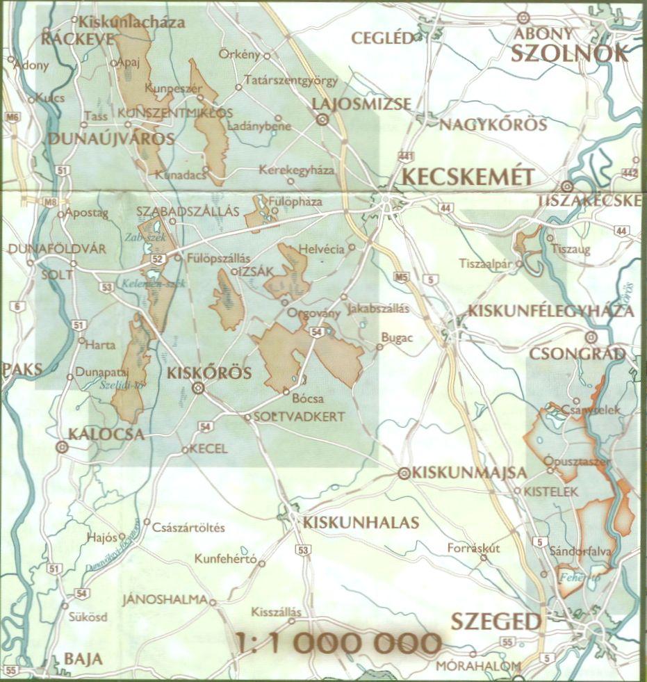 Kiskunság NP térkép által lefedett terület
