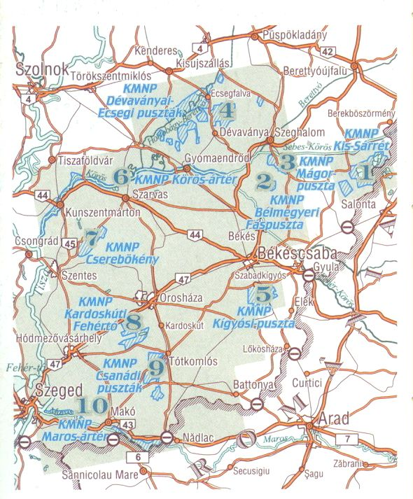 A Kőrös-Maros NP térkép által lefedett terület