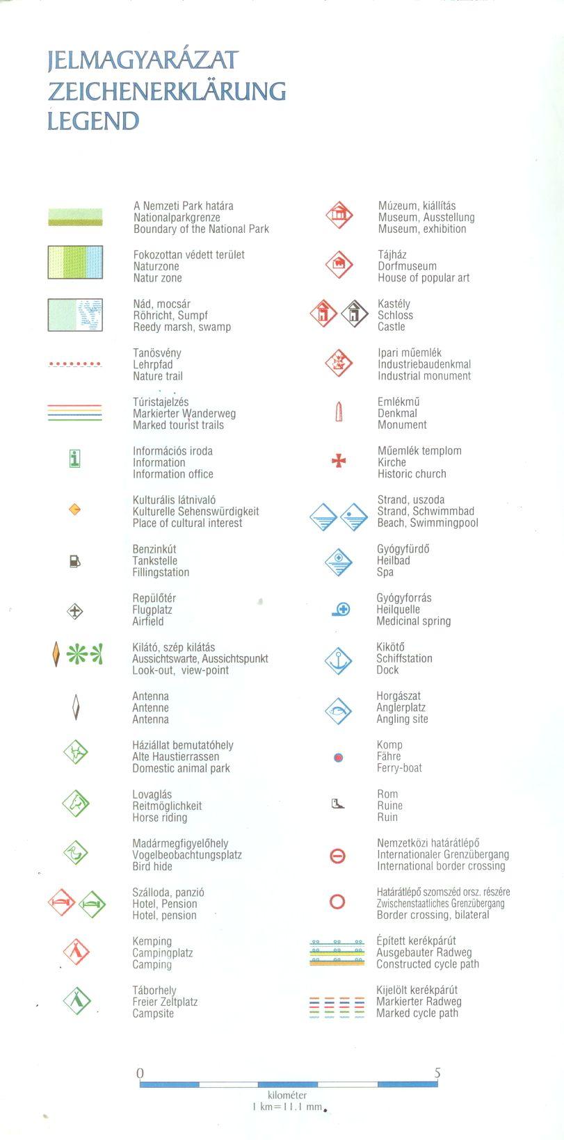 Kőrös-Maros NP térkép jelmagyarázat