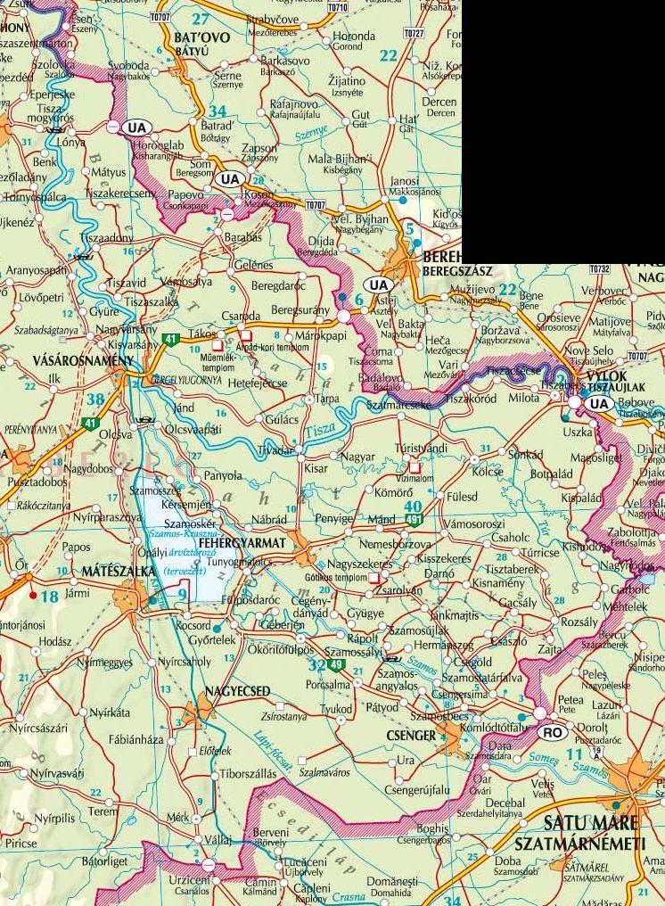 A Szatmár-Bereg NP térkép által lefedett terület
