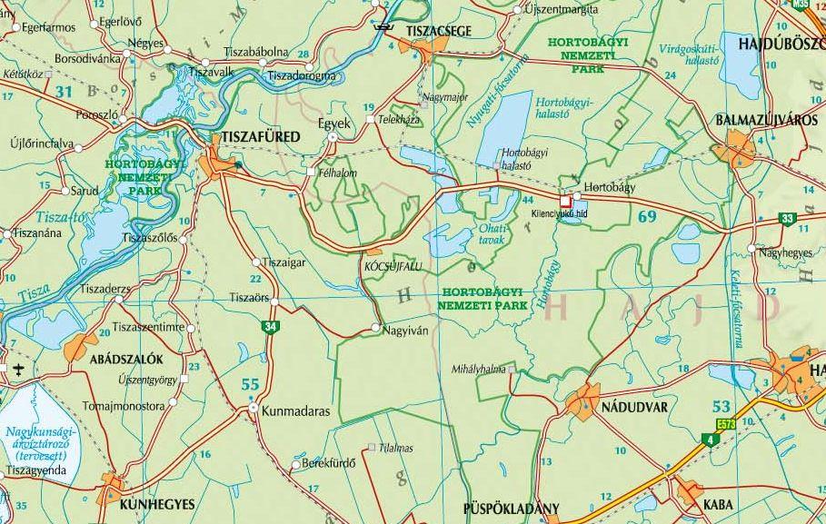 A Hortobágy térkép által lefedett terület
