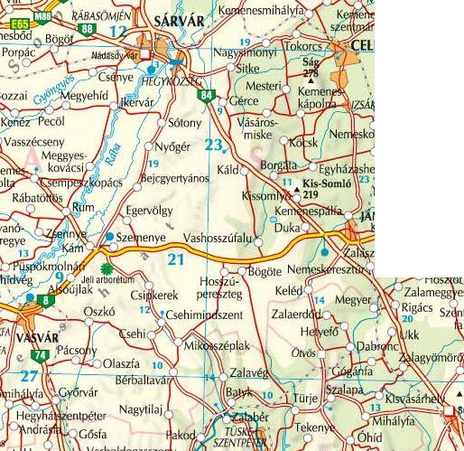 A Kemenshát térkép által lefedett terület