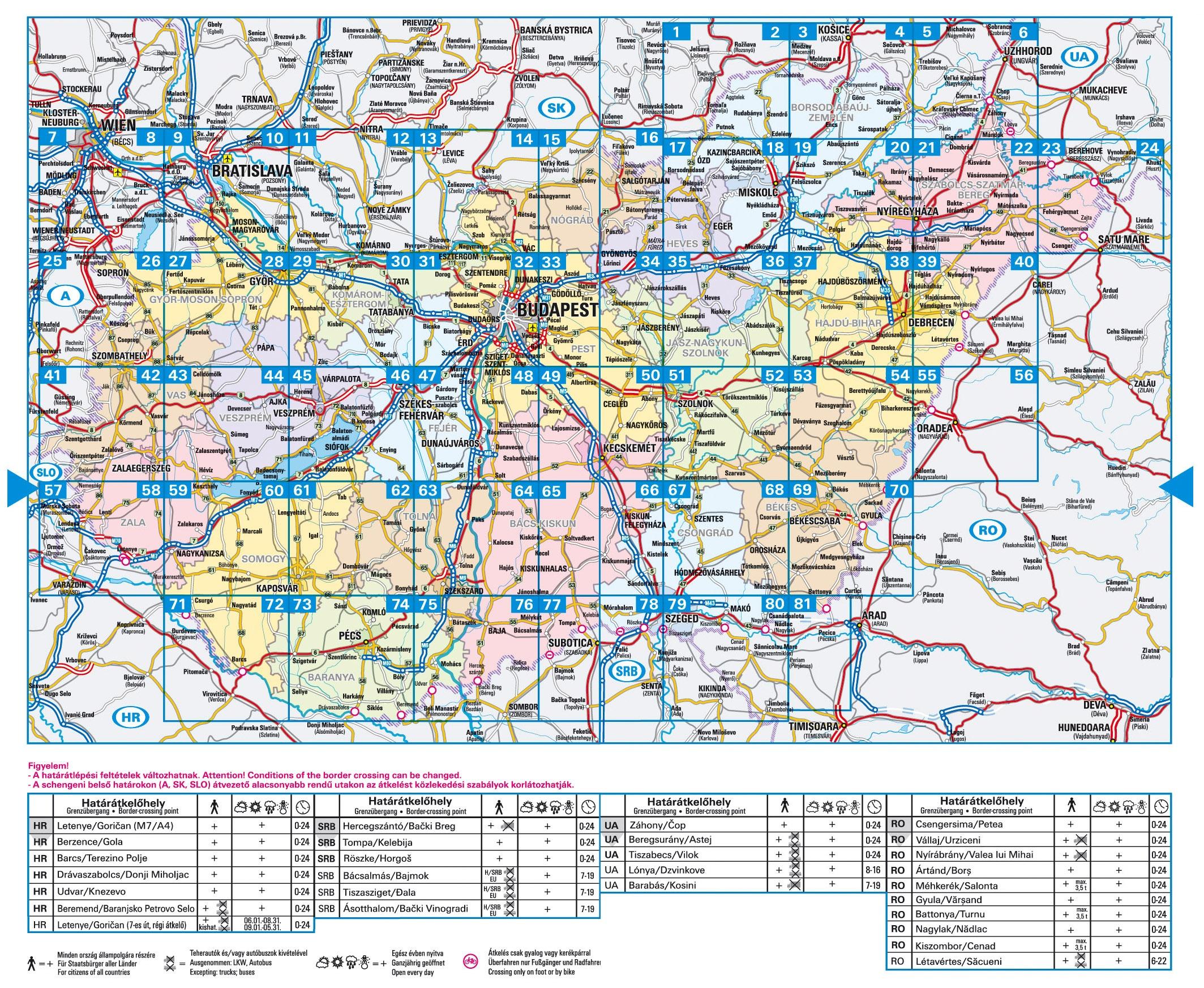 Magyarország autóatlasza áttekintő térkép
